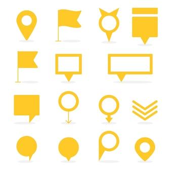 Conjunto de punteros amarillos aislados y marcadores de diferentes formas