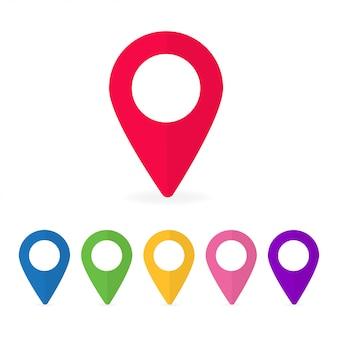 Conjunto de punteros de mapa de diferentes colores.