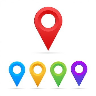 Conjunto de punteros de mapa sobre fondo blanco