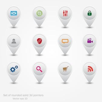 Conjunto de punteros redondos. iconos web.