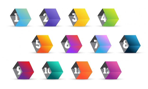 Conjunto de punto de bala sobre fondo blanco. coloridos cubos degradados con números