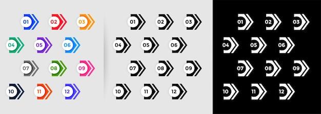 Conjunto de puntos de viñeta numerados direccionales