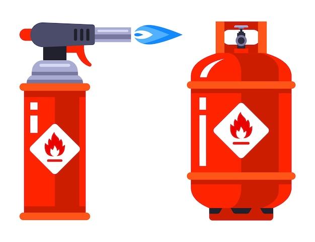 Conjunto de quemador de gas portátil y cilindro de gas sobre un fondo blanco. ilustración.