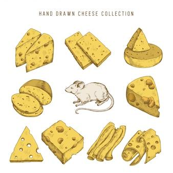 Conjunto de queso doodle dibujado a mano