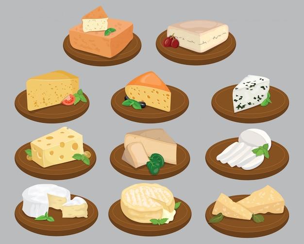 Conjunto de quesos. colección de quesos de dibujos animados. lechería. ilustración.