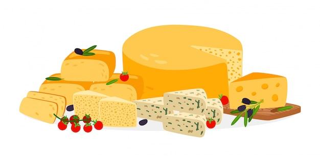 Conjunto de quesos de granja