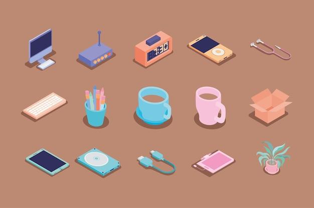 Conjunto de quince iconos de lugar de trabajo