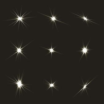 Conjunto de ráfagas de luz
