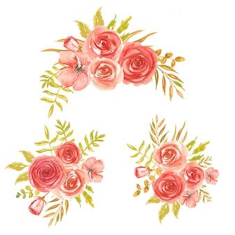 Conjunto de ramo de flores acuarela roja.