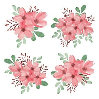 Conjunto de ramo de flores de flor de cerezo de primavera acuarela