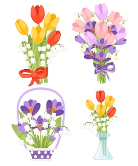 Conjunto de ramo de flores de manantiales con diferentes flores. tulipán rojo y amarillo con convallaria majalis, tulip rosa con crocus morado. ilustración plana aislada sobre fondo blanco.