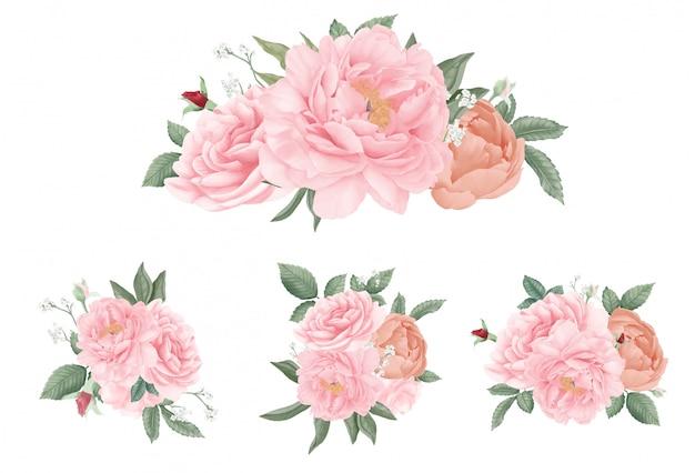 Conjunto de ramo de rosas de peonía. dibujado a mano acuarela hermosa colección. flor de boda