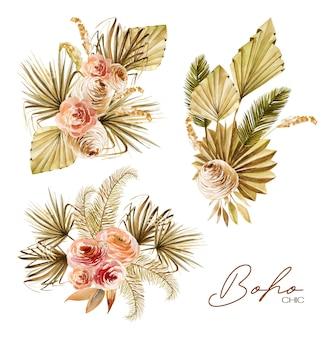 Conjunto de ramos florales de acuarela de hojas de palma de abanico secas doradas, rosas, hierba de la pampa y plantas exóticas
