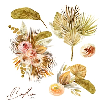 Conjunto de ramos florales de acuarela de hojas de palmera de abanico secas, rosas y plantas exóticas.