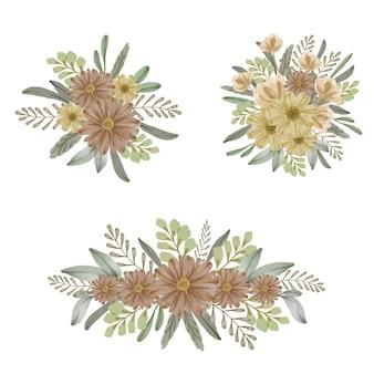 Conjunto de ramos florales amarillos y marrones