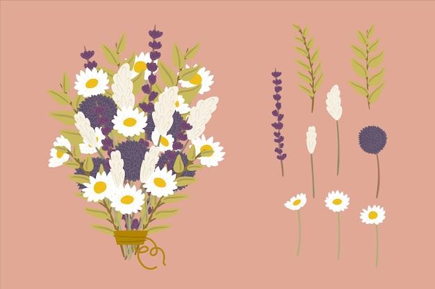 Conjunto de ramos de flores en 2d