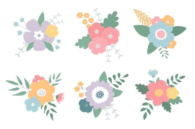 Un conjunto de ramos de flores.