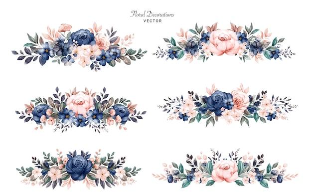 Conjunto de ramos de marco floral acuarela de rosas azul marino y melocotón