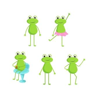 Un conjunto de ranas en diferentes poses.