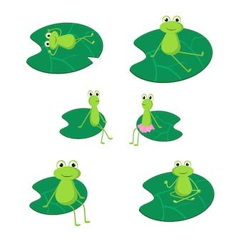 Un conjunto de ranas sentadas en nenúfares. ilustración de vector de estilo de dibujos animados plana.