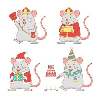 Conjunto de ratas de dibujos animados lindo para año nuevo