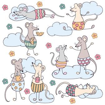 Conjunto de ratas lindas divertidas con nubes y flores
