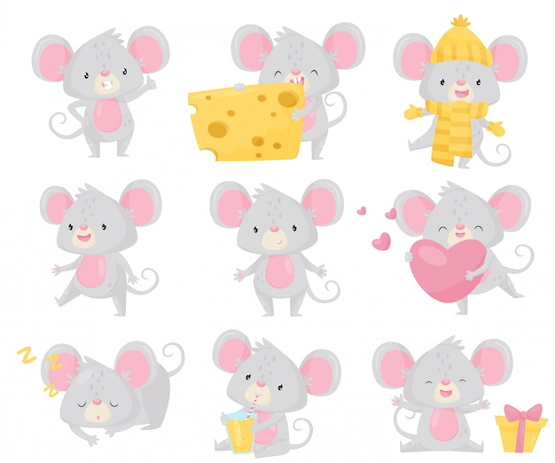 Conjunto de ratoncito en diferentes situaciones. pequeño roedor con orejas grandes y cola larga. personaje de dibujos animados lindo