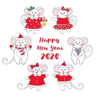 Conjunto de ratones dibujados a mano lindo aislado sobre fondo blanco.