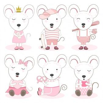 Conjunto de ratones de dibujos animados de animales lindos