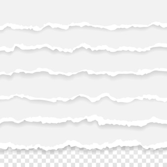 Conjunto de rayas de papel rasgado. textura de papel con borde dañado aislado sobre fondo transparente.