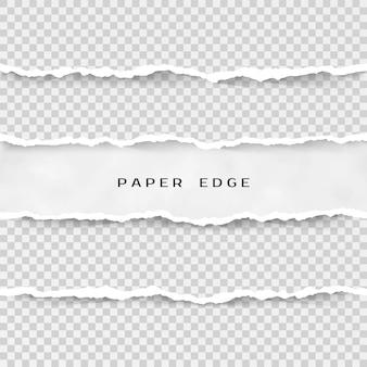 Conjunto de rayas de papel rasgado. textura de papel con borde dañado sobre fondo transparente. ilustración