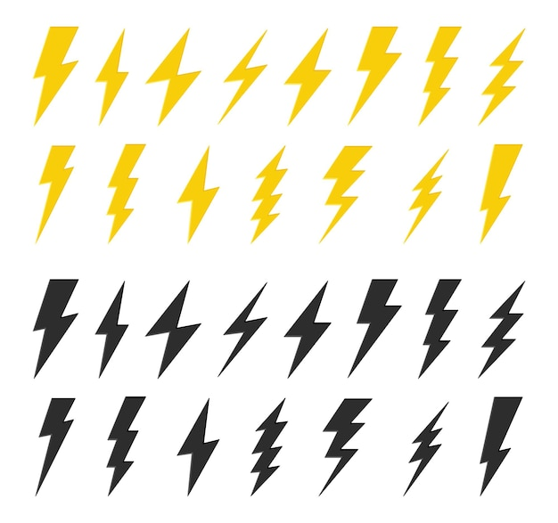 Conjunto de rayo negro y amarillo