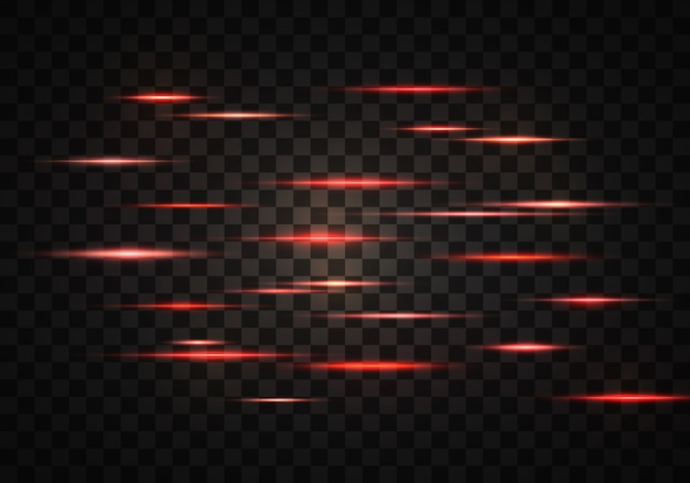 Conjunto de rayos horizontales de color, lentes, líneas. rayos láser. naranja, rojo brillante abstracto brillante forrado sobre un fondo transparente. destellos de luz, efecto.