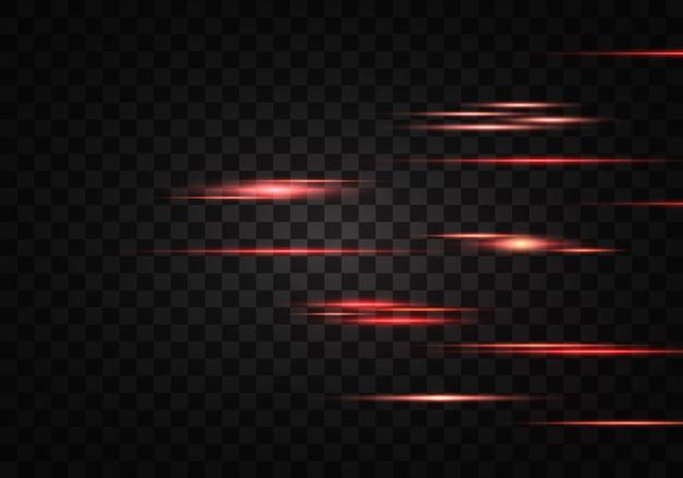 Conjunto de rayos horizontales de color, lentes, líneas. rayos láser. naranja, rojo luminoso abstracto brillante forrado sobre un fondo transparente. destellos de luz, efecto.