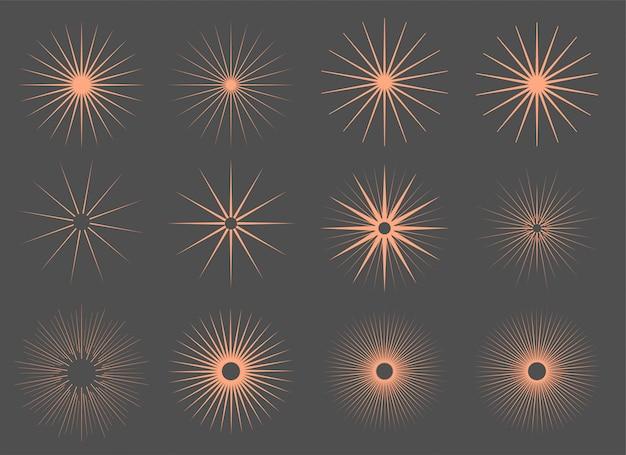 Conjunto de rayos de ráfaga de sol vintage de tweleve