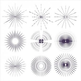 Conjunto de rayos de sol blanco y negro
