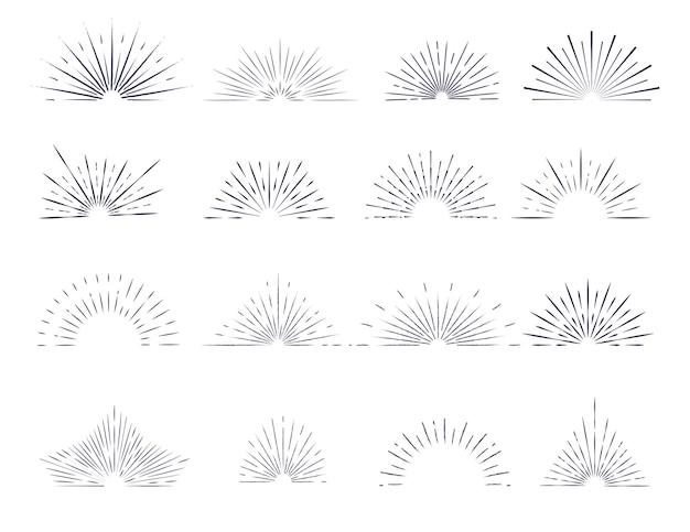 Conjunto de rayos de sol de contorno aislado con elementos de diseño de logotipo sobre un fondo blanco.