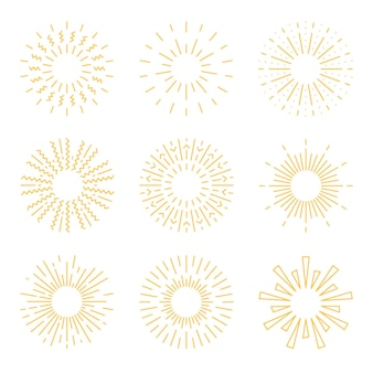 Conjunto de rayos de sol estilo dibujado a mano
