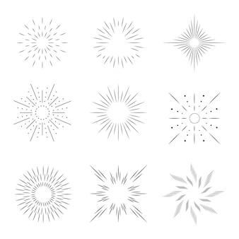Conjunto de rayos de sol plano lineal