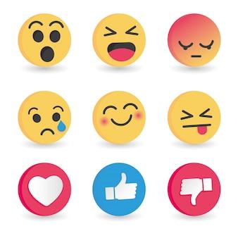 Conjunto de reacciones de emoticonos en las redes sociales.