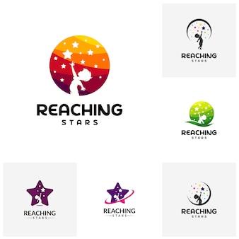 Conjunto de reaching stars logo design template. logo de la estrella del sueño.