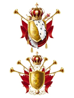 Conjunto real de coronas, cetro y orbe