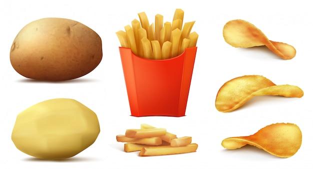 Conjunto realista en 3d de bocadillos de papa, papas fritas sabrosas en caja roja, vegetales crudos y pelados
