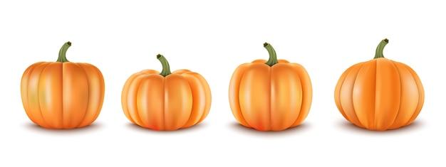 Conjunto realista 3d calabazas. decoración para la venta de otoño pancartas y otros