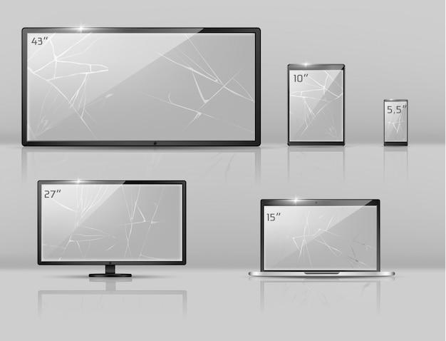 Conjunto realista en 3d de diferentes pantallas rotas: notebook, teléfono inteligente o tableta con grietas.