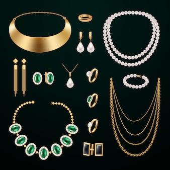 Conjunto realista de accesorios de joyería con anillos y aretes sobre fondo negro