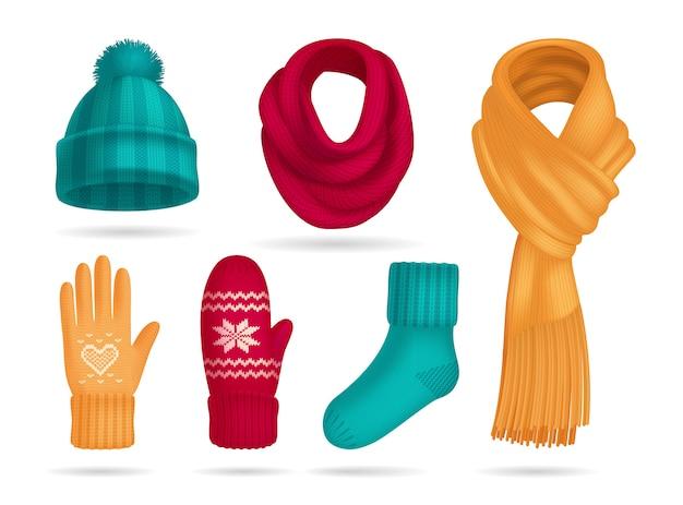 Conjunto realista de accesorios de punto de invierno con sombrero y calcetines aislados