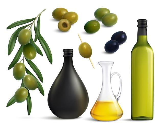 Conjunto realista de aceitunas y aceite