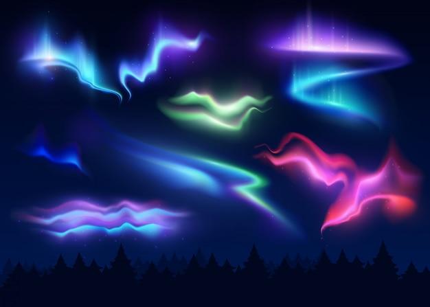 Conjunto realista de auroras boreales