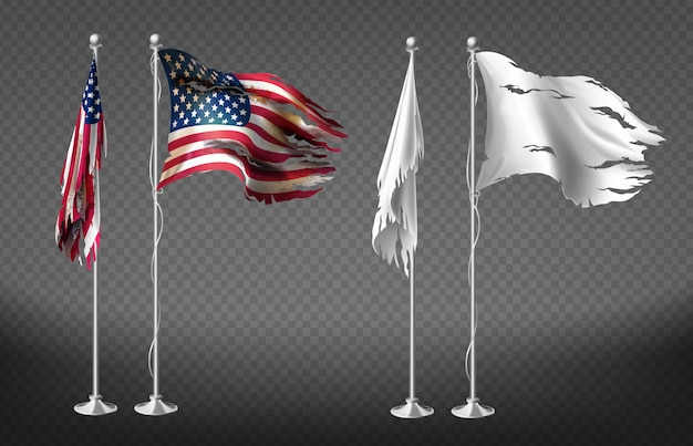 Conjunto realista con banderas dañadas de estados unidos de américa sobre postes de acero.